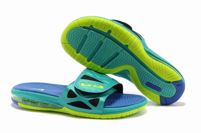 Nike Lebron James 2 Slide Elite Air Cushion Slippers Green Blue Yellow